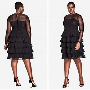 NWT! Plus Size Sheer Tiered Black Ruffle Dress